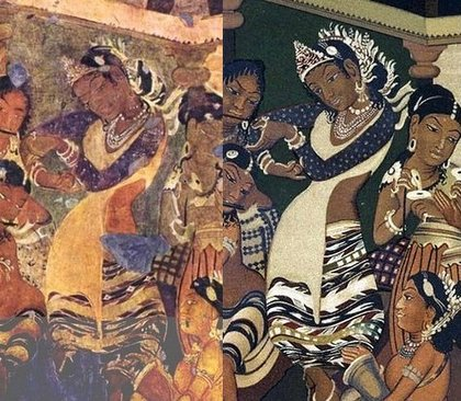 Фреска в една от пещерите на Аджанта